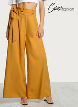 Wide Leg High Waist Belted Pants