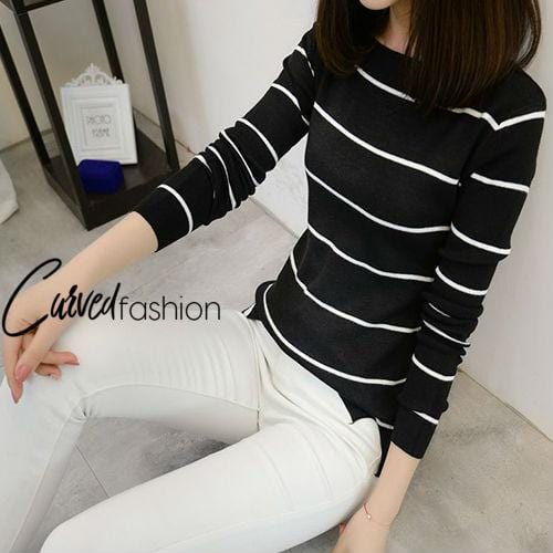 Cute Classy Knitted Stripes Sweater