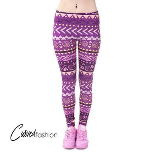 Aztec Purple Pattern Leggings