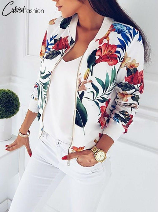 Retro Floral Zipper Jacket
