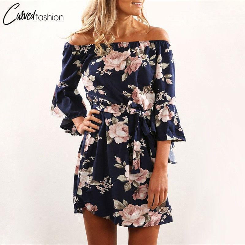 Off Shoulder Floral Summer Dress