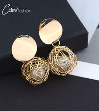 Geometric Nest Ball Earrings