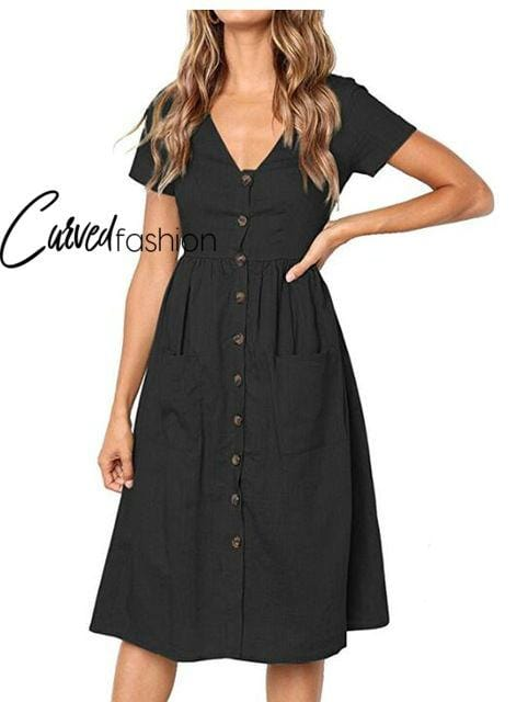 Fashion Button Short Sleeve V Neck Dress with Pockets