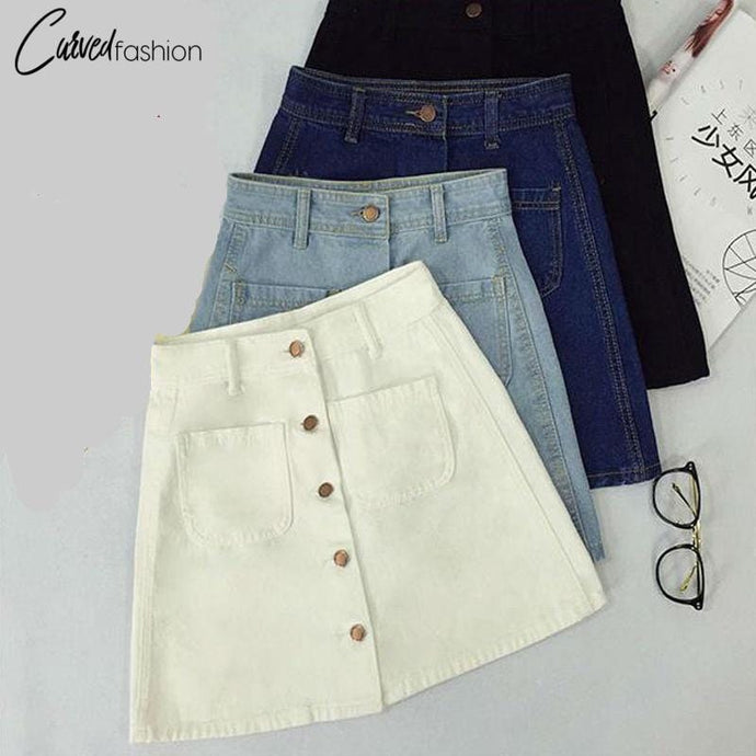 High Waist A-line Pencil Denim Skirt