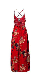 Bohemian Red & Black Floral Summer Dress with Slit