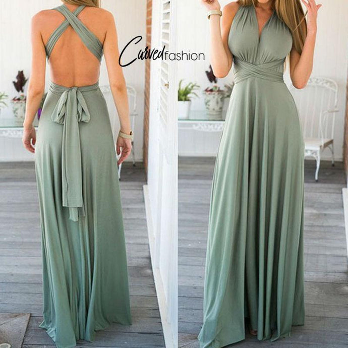 Long Strap Backless Dress with Back Sash