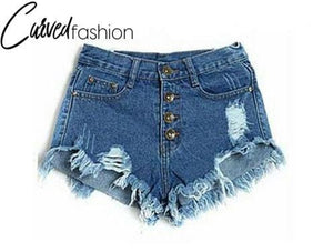 Denim Mini Shorts with Holes and Rips