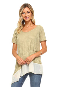 Sage Side Tail Asymmetrical Tunic - Women