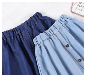 Korean Style Denim Long Skirt with Buttons