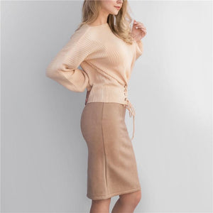 Suede Empire High Waist Bodycon Knee Length Pencil Skirt