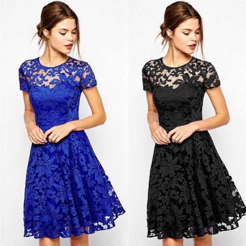 Round Collar Short Sleeve Lace Dress