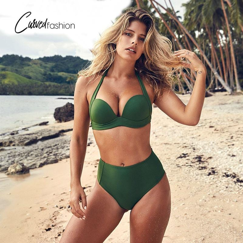 High Waist Halter Top Solid Color Bikini Set