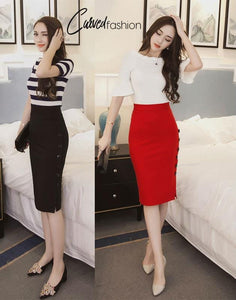 Slim Elegant Skirt with Side Buttons