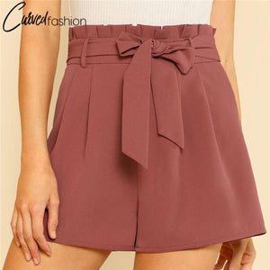 High Waist Casual Wide Shorts with Ribbon