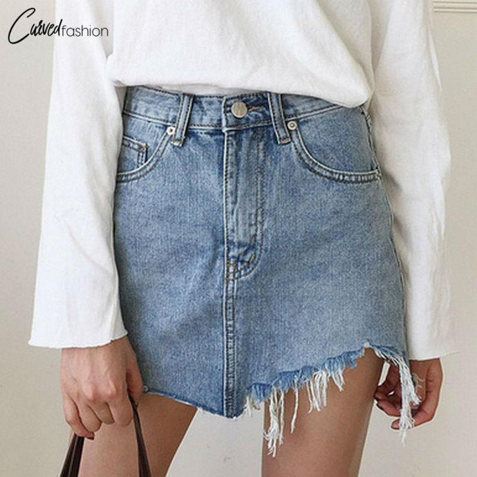 High Waist Irregular Edges Denim Skirt