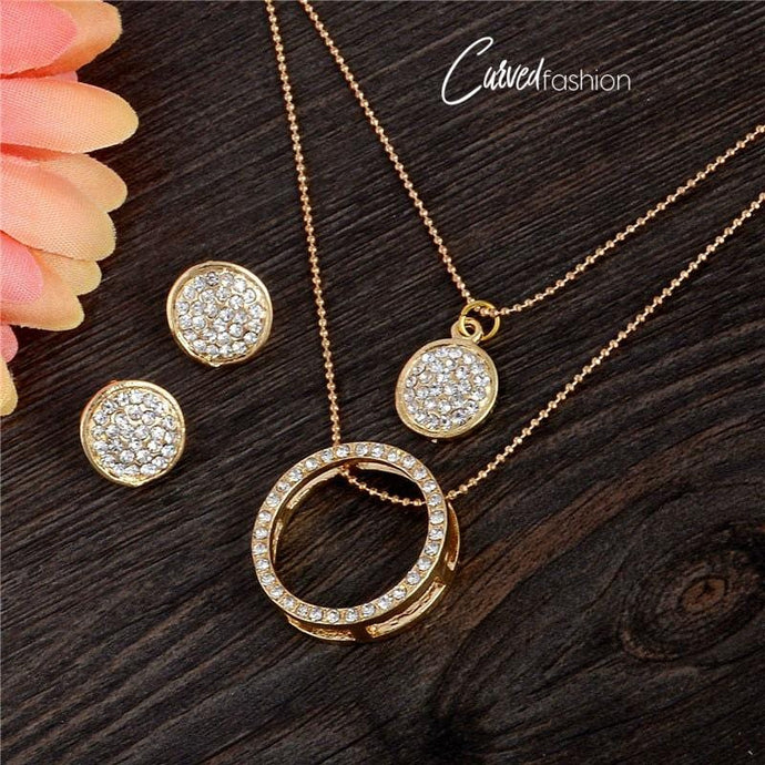 Crystal Ring  & Circles Pendant and Earrings Set