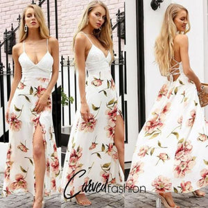 White & Floral Maxi Summer Dress with Slit