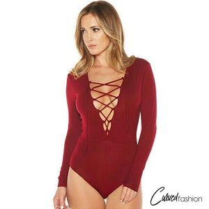 Deep V Lace Up Sleeved Bodysuit