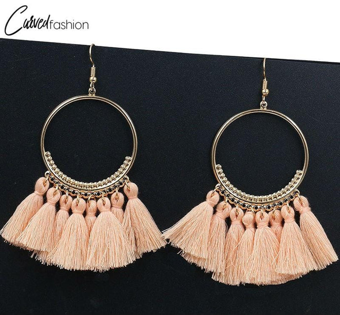 Vintage Hoop & 8 Tassel Earrings