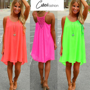 Beach dress fluorescence female dress chiffon plus size