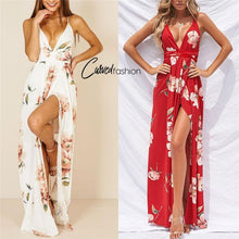 Bohemian Red & White Floral Summer Dress with Slit