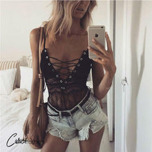 Lace Up Deep V Transparent Sleeveless Bodysuit