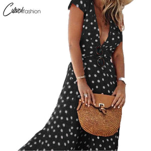 Long Deep V Neck Short Sleeve Flow Dress