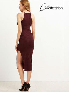 Sexy Bodycon with Side Slit Fall Fashion Long Dress