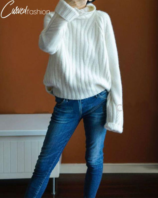 Turtleneck Knitted Ultra Long Sleeved Sweater