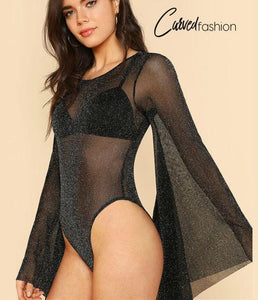 Glitter Backless See-through Bodysuit with Bell Sleeves