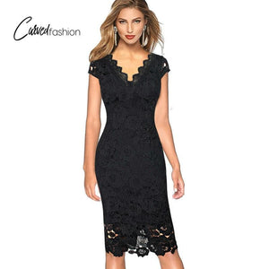 Classic Crochet Evening/Special Occasion Black Long Dress