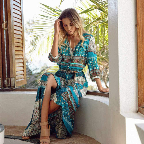 Bohemian V-neck Flower Long Dress