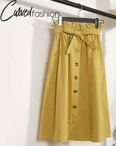 Knee Length Buttons High Waist Skirt with Sash