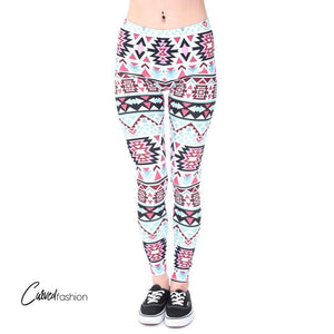 Aztec White Pattern Leggings