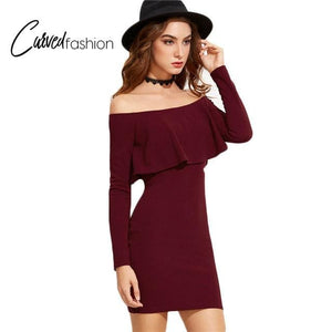 Burgundy Off Shoulder Long Sleeve Dress