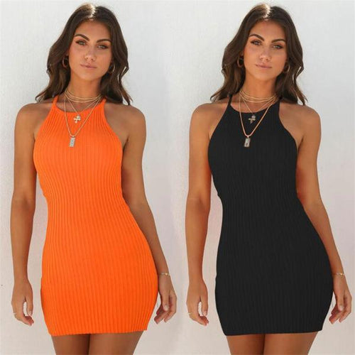 Sexy Strap Backless Basic Bodycon Dress