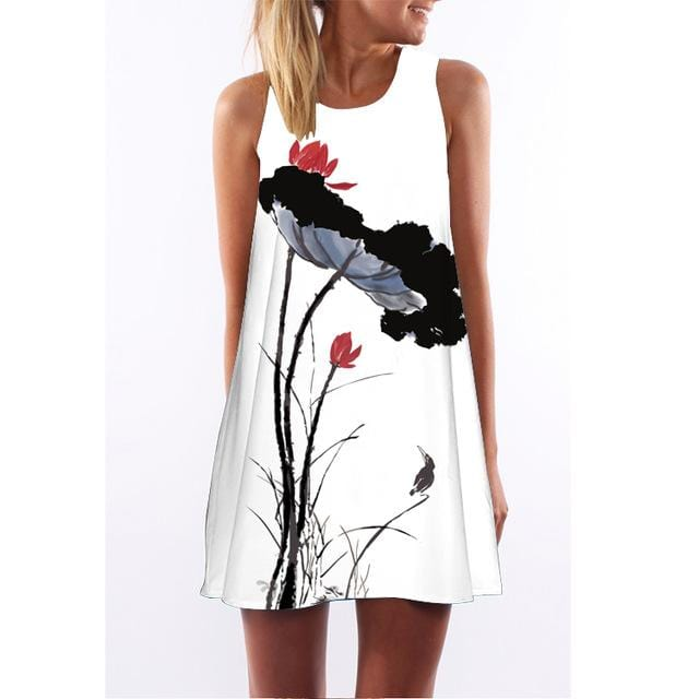 Flowers & The Bird Painting Summer Dress
