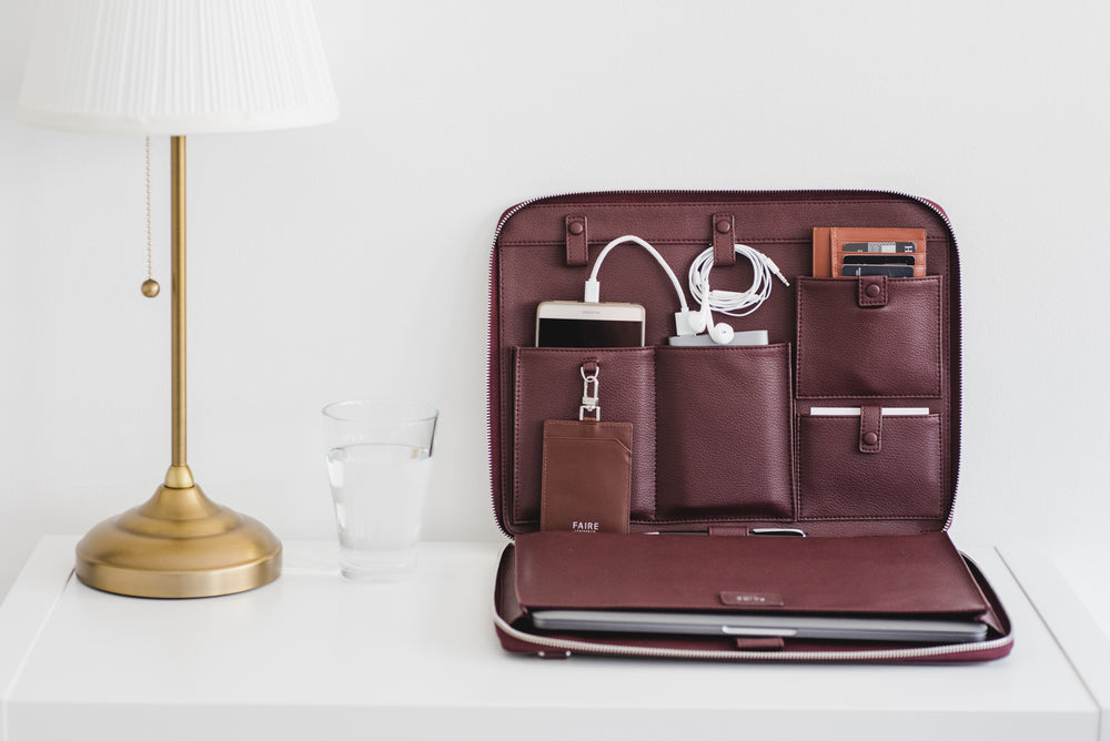 Designed to fit perfectly into the pull-tab slots of our luxury travel bag: Bond Travel Briefcase and leather tech organizer: Bond Everyday Padfolio