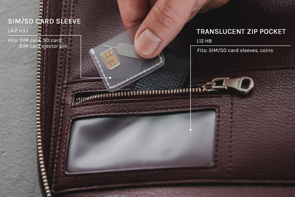 SIM/SD card sleeves and translucent zip pocket