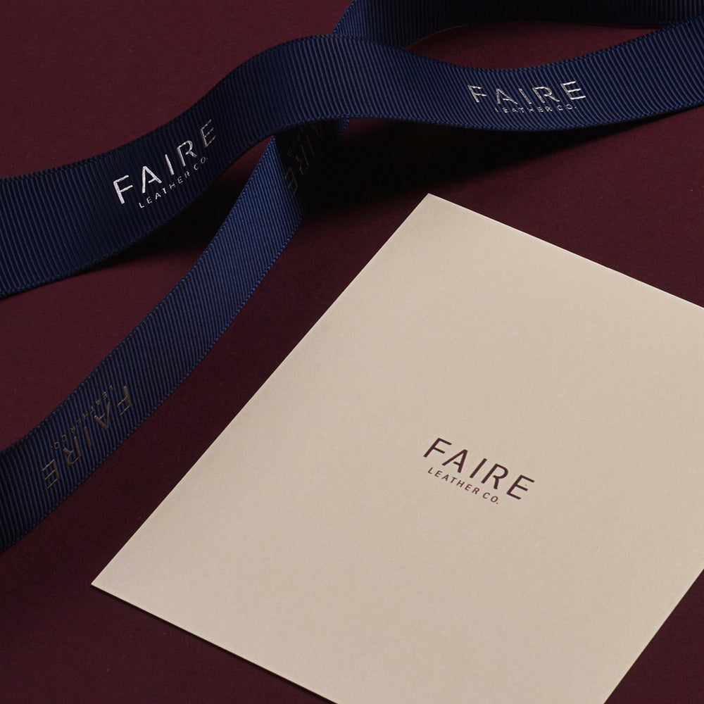 Want to add that extra personal touch this Christmas? We have our Faire Leather Co. ribbons and cards for writing your well wishes available upon request. Drop us an email and we'll pack them in.