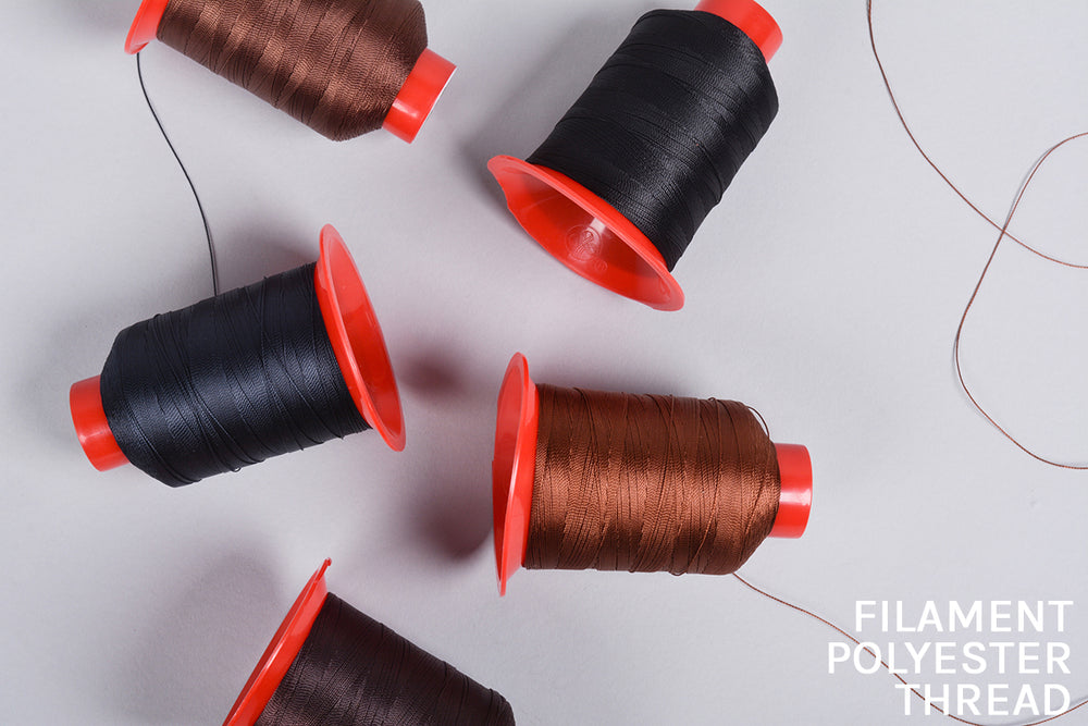 Known for its good colour fastness, high tensile strength and low moisture absorption, the threads we use are 100% Filament Polyester Threads.
