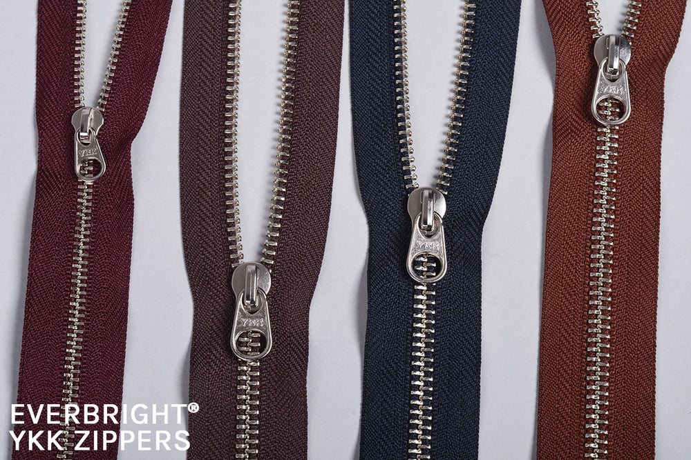 Our hardware is made from Zamak and Brass and we use EVERBRIGHT® zippers from YKK for their high resistance to corrosion and its reputation as the undisputed market leader worldwide.