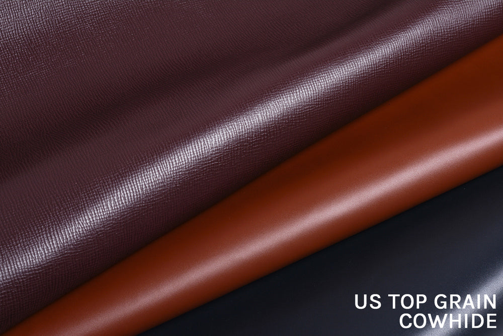 Our leathers are US top grain cowhide. As far as treatment goes, we've opted for a more polished and sleek finish to our leather compared to the rest of our competitors who take on a more raw and rugged approach.
