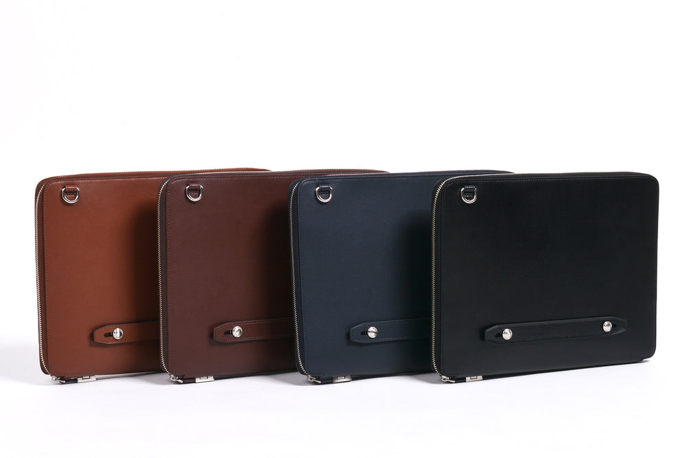 Bond Everyday Padfolio in Smooth Veg Tan Cowhide (L to R): Tan, Dark Brown, Navy, Black