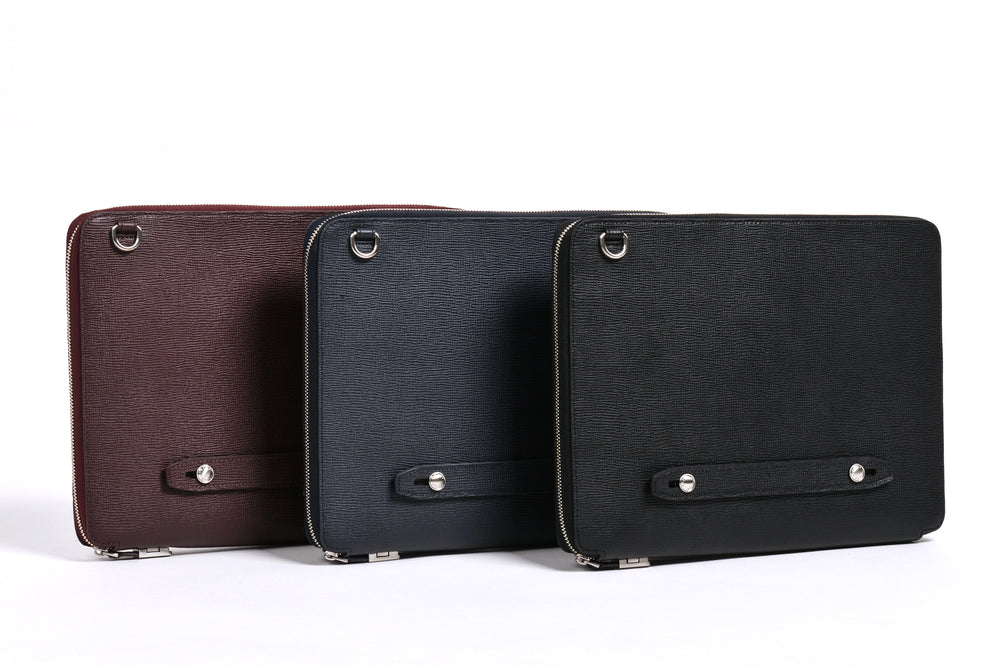 Textured Cross Grain Cowhide (L to R): Burgundy, Navy, Black