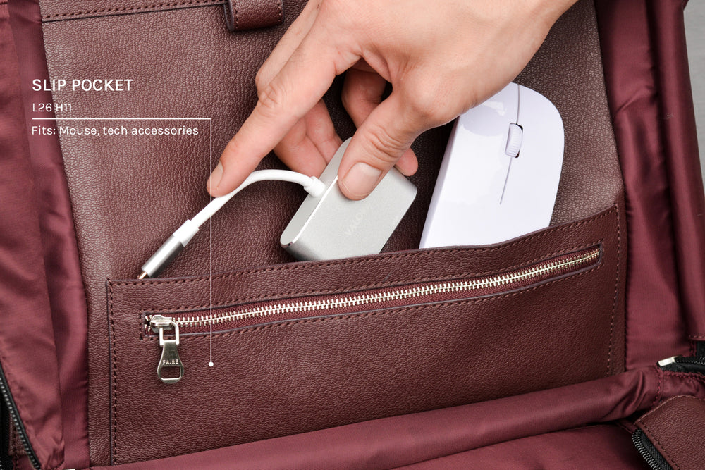 Slip pocket for tech accessories