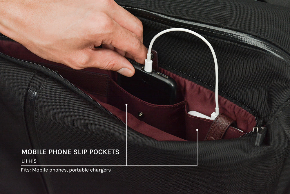 Slip pockets for mobile phones and portable chargers