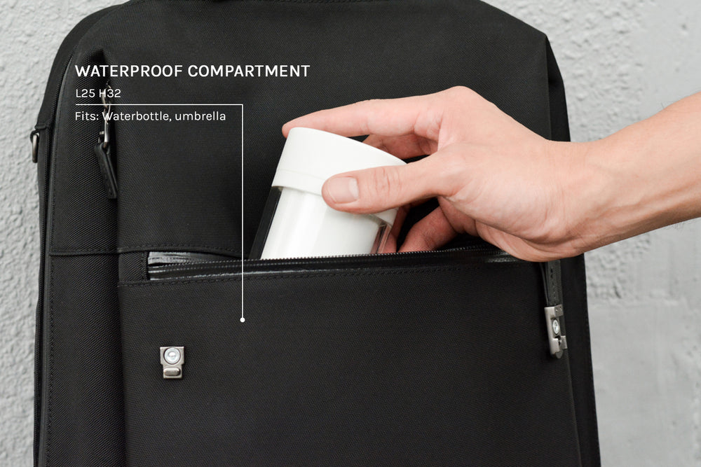The front zip compartment is lined with waterproof material