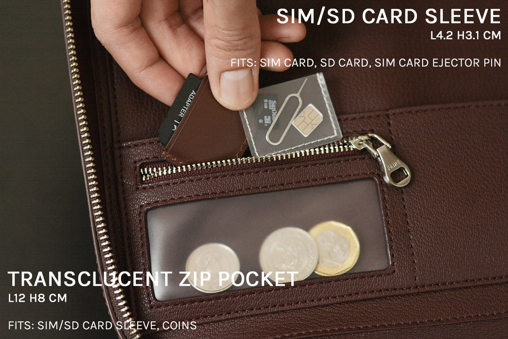 SIM/SD card sleeve and translucent zip pocket