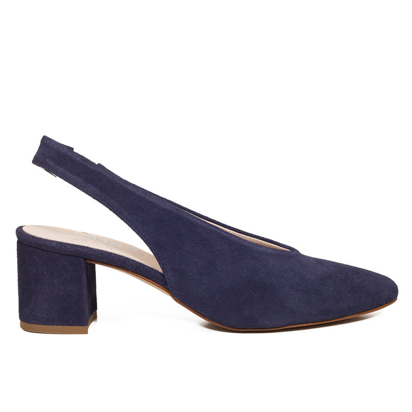 URBAN SLINGPUMPS – MARINEBLAUE Slingpumps aus Leder